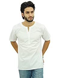 Atasi Men's Casual Short Kurta Indian Tunic V-Neck Cotton Top-Small