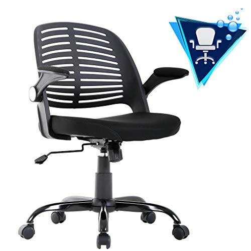 BestOffice Home Office Desk Computer Ergonomic Swivel Executive Rolling Arms Lumbar Support Task Mesh Heavy Duty Mid-Back Metal Chair for Women, Men, 1 Pack, Black