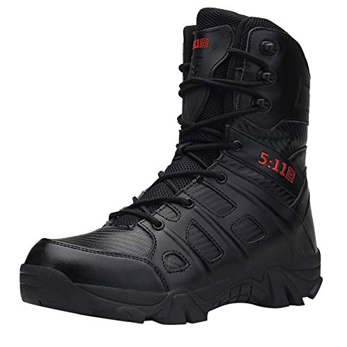 Men's Military Combat Boots,Mid Calf High Boots Wear-Resistant Walking Hiking Outdoor Shoe Non-Slip (US:6.5, Black)
