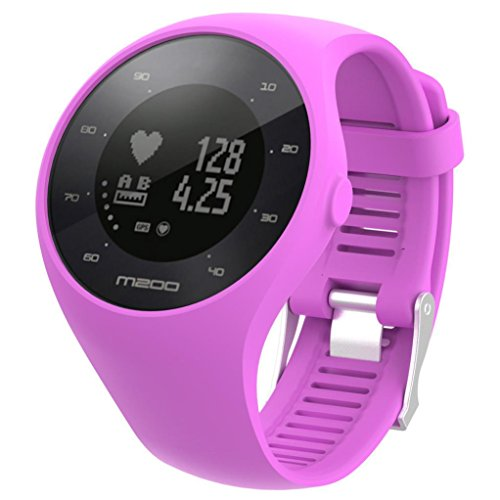 (GBSELL Soft Silicone Rubber Watch Band Sport Replacement Wrist Strap For Polar M200 (Purple))