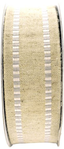 May Arts 1-1/2-Inch Wide Ribbon, Natural Burlap with Silver Striped Edge