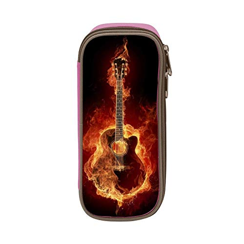 - Guitar on Fire Students High Capacity Simple Personality Ballpoint Pen Stationery Bag Pink