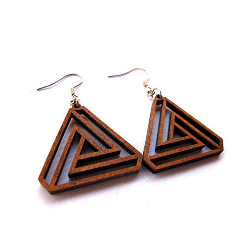Triangle Infinity Earrings - New design - Sacred Geometry Eco-friendly Wooden Jewelry