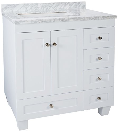 Eviva Acclaim Caroline 30-Inch. White Bathroom Vanity Set With Off-Set Sink White Carrera Marble Top