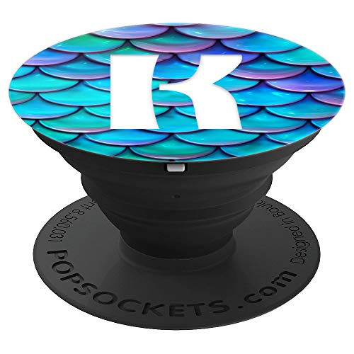 Blue Purple Mermaid Scale White Initial Letter K Monogram - PopSockets Grip and Stand for Phones and Tablets
