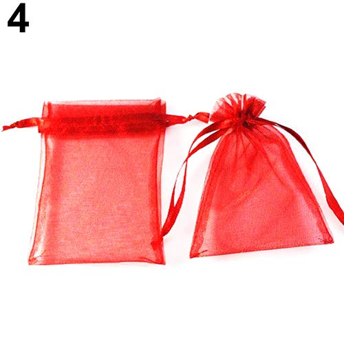 Baost 50Pcs Sheer Organza Bag Drawstring Jewelry Packing Pouches Mesh Wedding Favor Gift Bags Candy Bags for Decoration, Wedding Gifts, Special Occasions, Party Favors Red ()