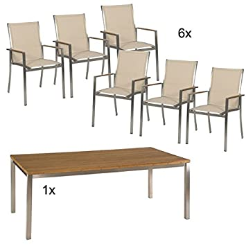 Stern Gartenmöbel Set Fred 8-Teilig aus Edelstahl und Bambusplatte ...
