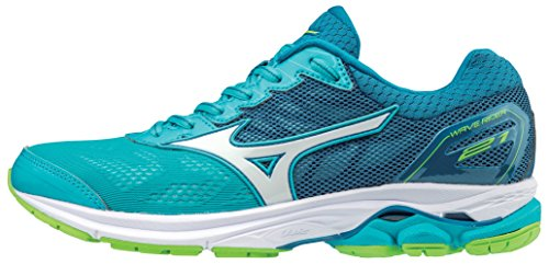 Mizuno Women's Wave Rider 21 Running Shoe Athletic Shoe, peacock blue/white, 6 B US (Best Mizuno Running Shoes For Flat Feet)