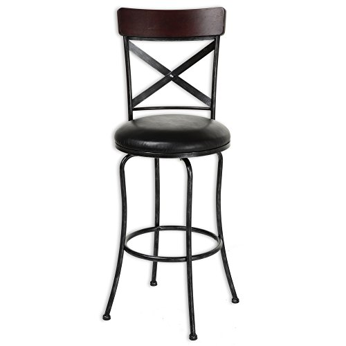 Fashion Bed Group Austin Swivel Seat Counter Stool with Black Fleck Finished Metal Frame, Wood Seatback and Black Faux Leather Upholstery, 26-Inch Seat Height