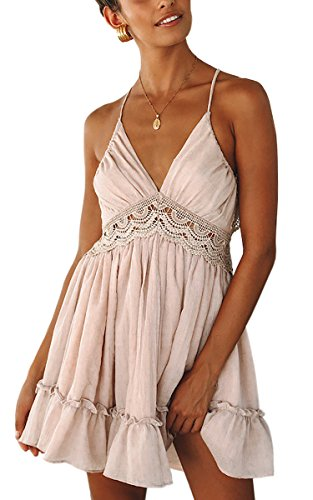ECOWISH Womens Dresses V Neck Spaghetti Strap Backless Sleeveless Lace Mini Swing Skater Dress Pink XL