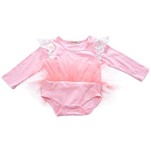 Robes Barboteuses Tutu Solide Bébé Filles Weixinbuy Rose Bodysuit