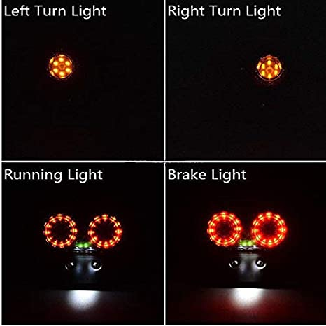triclicks Motorrad R/ücklicht Bremslicht Frontblinker Licht Schritt ES Licht mit Nummernschild Halterung f/ür gel/ändefahrzeugen Dirt Bike Custom Chopper
