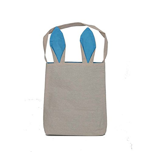 Bunny Bag,Govine Reusable Easter Bunny Ears Design Cotton Canvas Material Easter Egg Bags Carrying Eggs/Gifts for Festival/Party (light blue) (Clue Movie Costumes Ideas)