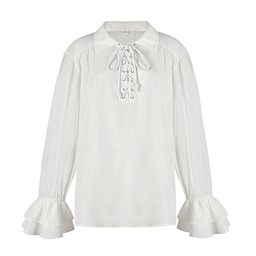 Alex sweet Men's Adult ScottishWhite Cream Highland Shirt Long Sleeve Lace up Medieval Renaissance Pirate Costume Shirt (XXL, White)