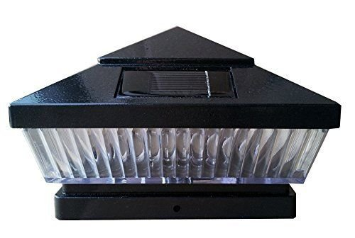 10-Pack Solar Hammered Black Finish Post Deck Fence Cap Lights for 6'' X 6'' Vinyl/PVC or Wood Posts With White LEDs and Vertical-lined Clear Lens