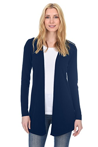 (State Fusio Women's Wool Cashmere Soft Shaker-Stitch Open Cardigan Sweater Premium Quality Navy)