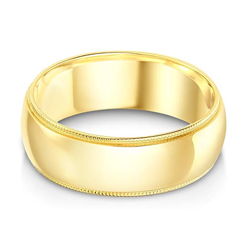 Ioka - 14k Solid Yellow Gold 7mm Comfort Fit Milgrain Traditional Wedding Band Ring - size 10