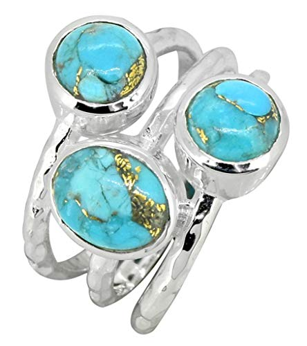 YoTreasure Turquoise Ring 925 Sterling Silver Gemstone Jewelry (Copper Turquoise Ring)