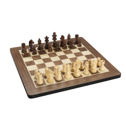 WE Games French Staunton Chess Set - Weighted Pieces & Walnut Wood Board 16 in.
