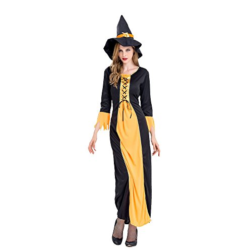 [Birdfly Complete Witch Look Women's Halloween Costume Cosplay Masquerade Party Grace Lace Up Dress with Witchy Tall Hat (M)] (Medieval Serving Wench Costumes)