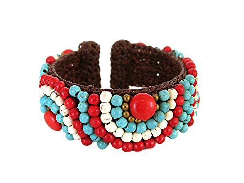 Beaded Cuff Bracelet Bohemian Jewelry for Women Coral Turquoise Accessories - Coral Cuff Set Bracelet