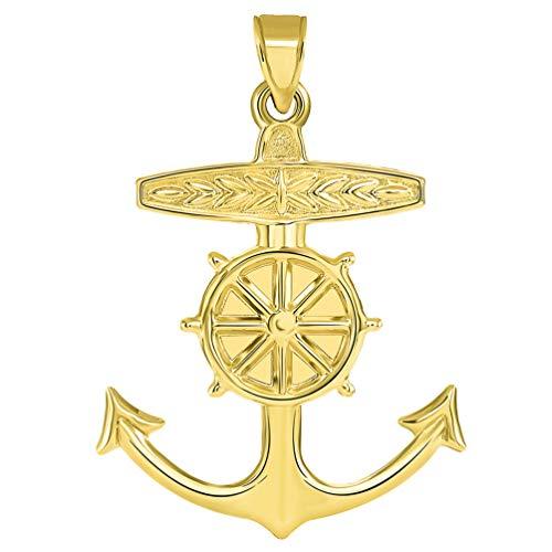 14k Yellow Gold 3D Ship Anchor and Wheel Nautical Pendant