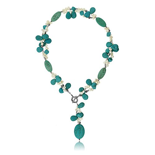 Gem Stone King 24inches Simulated Turquoise Color & White Cultured Freshwater Pearl Necklace with Toggle Hook