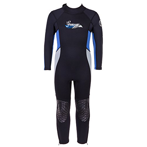 Seavenger 3mm Kids Full Body Wetsuit with Knee Pads for Surfing, Snorkeling, Swimming (Ocean Blue, 14) - Blue Ocean Scuba