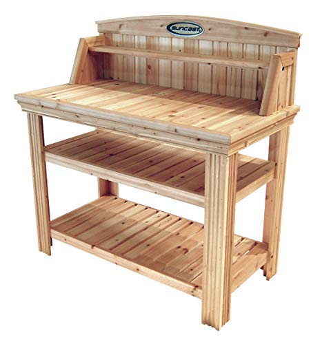 Suncast Cedar Freestanding Bench Ideal for Garages, Sheds, Basements - Organize Garden Equipment Supplies, Pots, Watering Cans - Hardware Included