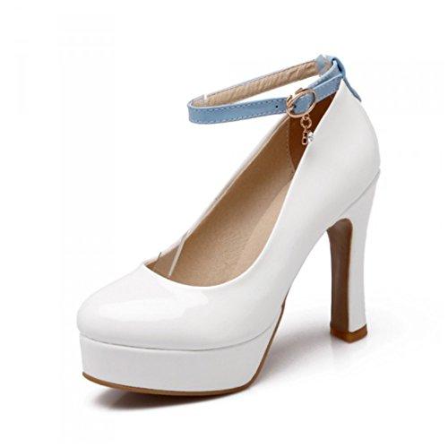 Damas Sandalias, Impermeable Mesa, Tacones Altos, Zapatos, Cabeza Redonda, Tacones y Zapatos. white
