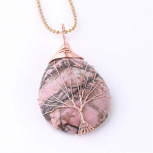 (Tree Of Life Water Drop Necklace Pendants Rose Gold Wrap Wire Natural Gem Stone Purple Pink Quartz Opal Chakra Line Rhodonite)