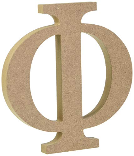 "6"" Wooden Greek Letter Phi - Fraternity/Sorority Premium MDF Wood Letters (6 inch, Phi)"