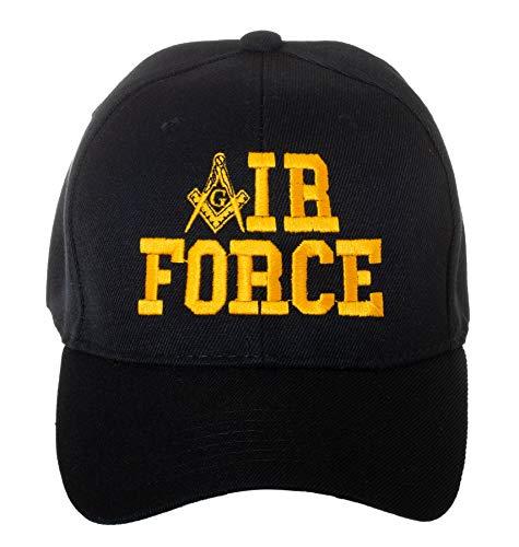 Masonic Baseball Hat - United States Air Force Masonic Square and Compass Embroidered Black Baseball Cap