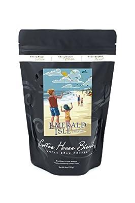Emerald Isle, North Carolina - Kite Flyers (8oz Whole Bean Small Batch Artisan Coffee - Bold & Strong Medium Dark Roast w/ Artwork)