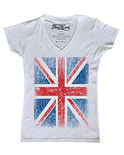 Shop4Ever Vintage Union Jack British Flag Women's V-Neck T-shirt United Kingdom Flag Shirts X-Large White -