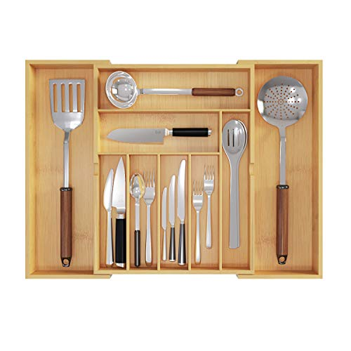 BAMEOS Upgraded Utensil Drawer Organizer, Cutlery Tray Desk Drawer Organizer Silverware Holder Kitchen Knives Tray Drawer Organizer, 100% Pure Bamboo Expandable Adjustable Cutlery in Natural Color