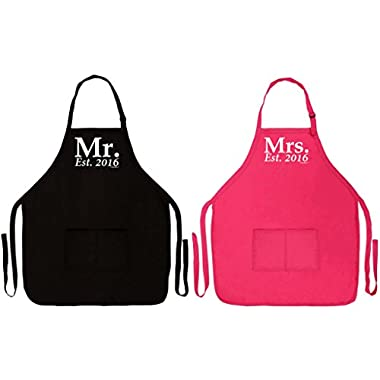 Wedding Shower Gift Mr. & Mrs. Established 2016 Husband and Wife Bundle Funny Aprons for Kitchen BBQ Cooking Baking Grilling Two Pocket Apron for Bride Groom Gift Set Apron Black/Heliconia
