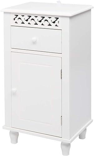 Road.Ahead Bathroom Floor Cabinet Storage,Carved Single Door Cabinet Organizer Set with Drawer, and Single Shutter Door Wooden,Adjustable Shelves,White