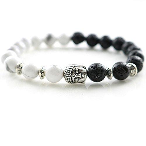 Natural Stones Silver Lion Charm Bracelets Trendy Handmade Design Men's Fashion Bracelets & Bangles Women's Jewelry - Broken Glasses Fix Arm