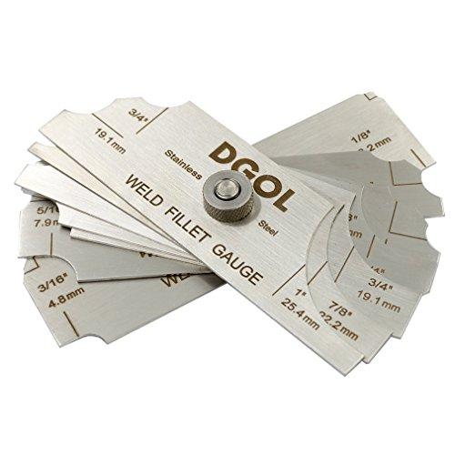 DGOL 7Pcs Welding Fillet Gauge (Inch/mm) Weld Measuring Inspection Test Ulnar Gage
