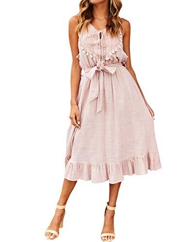 MOSHENGQI Women Summer Casual Tassel Midi Dress Tie Waist Sleeveless Boho Dress(S,Pink)