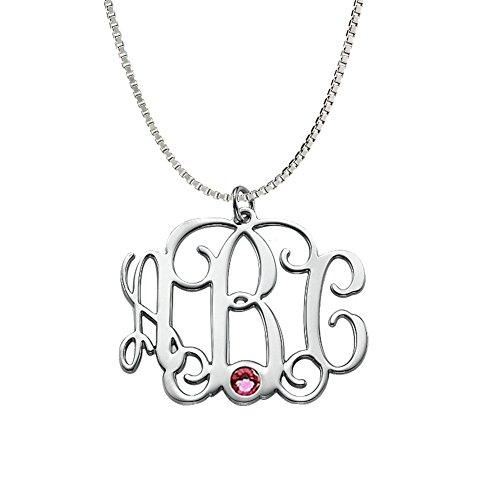 Triple Monogram Three Letter (Ouslier 925 Sterling Silver Personalized Birthstone Monogram Necklace Custom Made with 3 Initials (Silver))