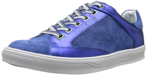Hugo Boss Heren Athen Leren Mode Sneaker Medium Blauw