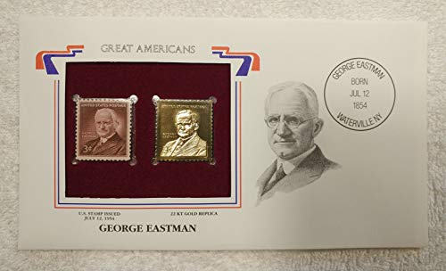 George Eastman - Great Americans - Postage Stamp (1954) & 22kt Gold Replica Stamp plus Info Card - Postal Commemorative Society, 2001 - Kodak, Photography, Camera, Film, Businessman, Inventor