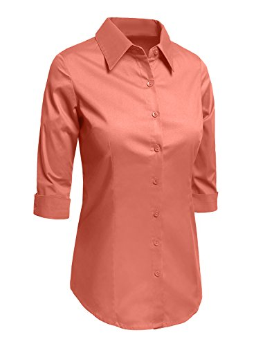 c4dbf3a7d25 LE3NO Womens Plus Size Roll Up 3 4 Sleeve Button Down Shirt with ...