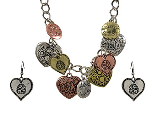 Noi Tri Tone Bib Heart Charm Necklace and Earring Set ()