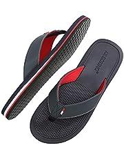 AX BOXING Mens Flip Flops Beach Gentleman Sven Sandals Slippers Leather Blue Red Soft Non-Slip Indoor Outdoor Size 6-11