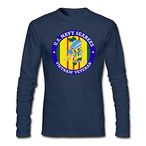 Navy Seabees Vietnam (TransaJuedi U.S. Navy Seabees Vietnam Veteran Men's Long Sleeve T-Shirt Retro Cotton Long Sleeve T-Shirt)