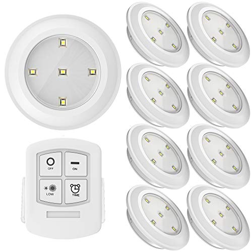 Sunco Lighting 8 Pack LED Puck Light with Remote Control, .5 W, 30 Lumens, 4000K Cool White, Wireless, Mounting Equipment Included (3M or Magnet)   ()