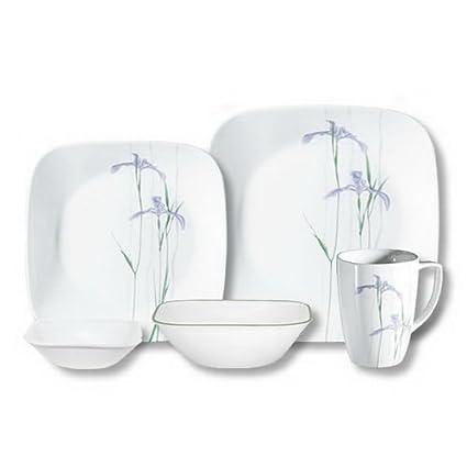 Corelle Square Shadow Iris 30-Pc Set  sc 1 st  Amazon.com & Amazon.com   Corelle Square Shadow Iris 30-Pc Set: Dinnerware Sets ...